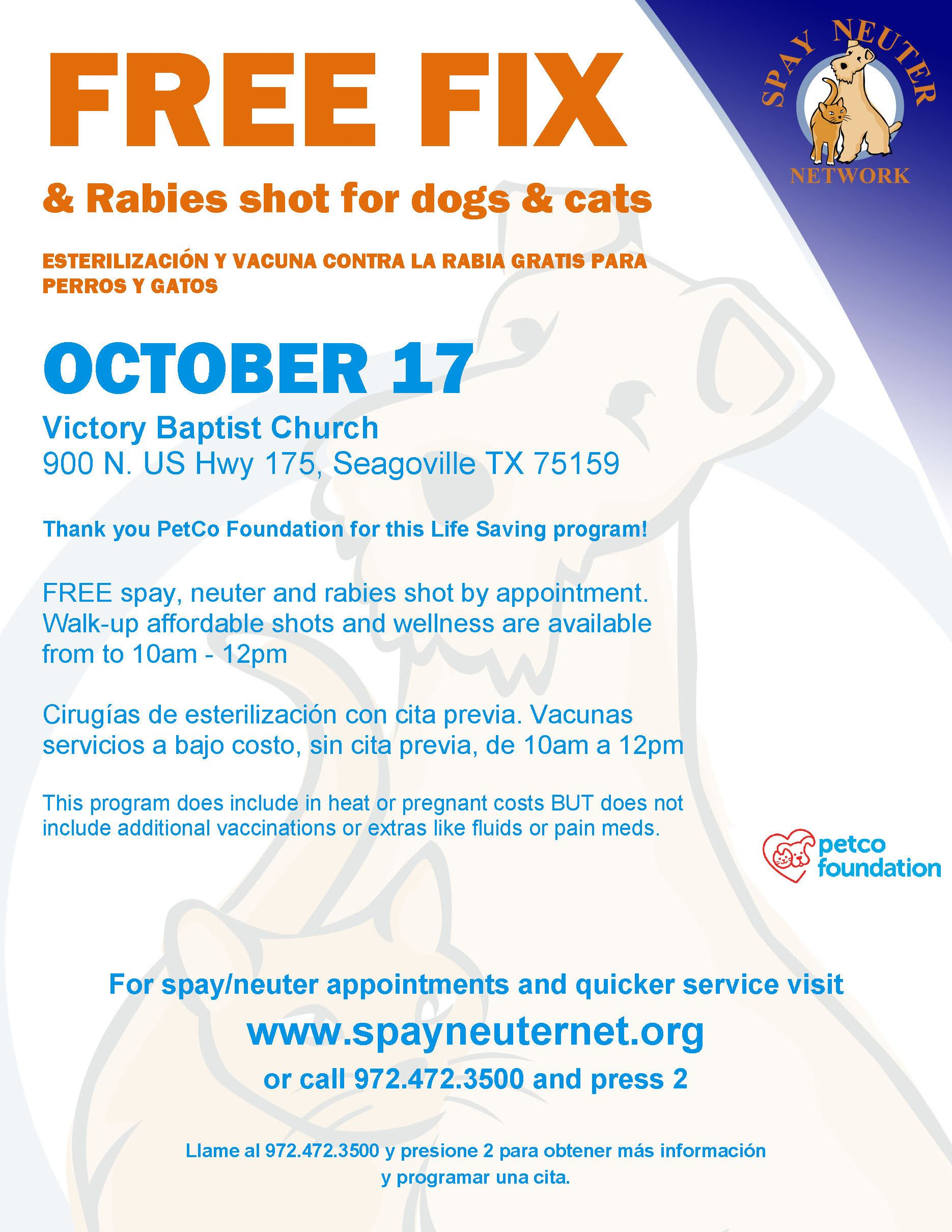 Free Spay, Neuter and Rabies Vaccination Flyer